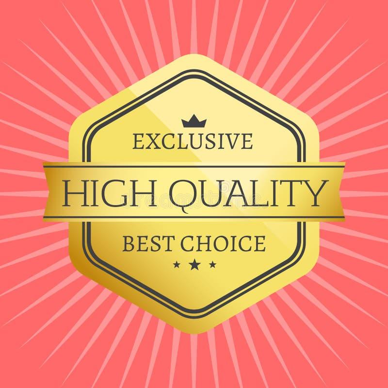 Récompense de la meilleure qualité de label de meilleur timbre bien choisi de haute qualité illustration stock