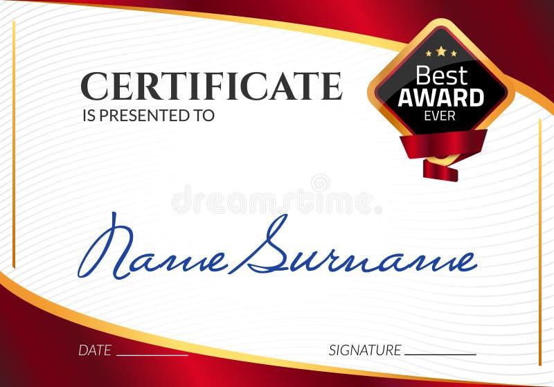 Récompense de luxe de calibre de certificat Diplôme d'affaires de vecteur avec le timbre de joint Bon de cadeau ou accomplissemen illustration de vecteur