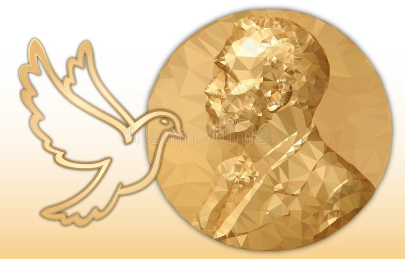 Récompense de paix Nobel, médaille d'or et colombe polygonales illustration stock