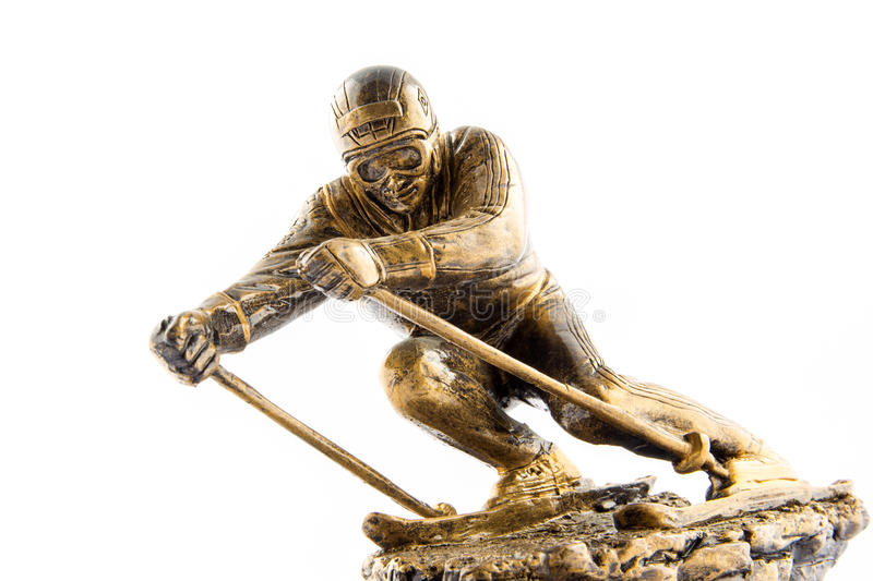 Récompense de statuette de champion de ski d'or photos stock