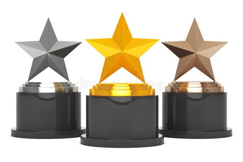 Récompenses d'étoile d'or, d'argent et de bronze rendu 3d illustration stock