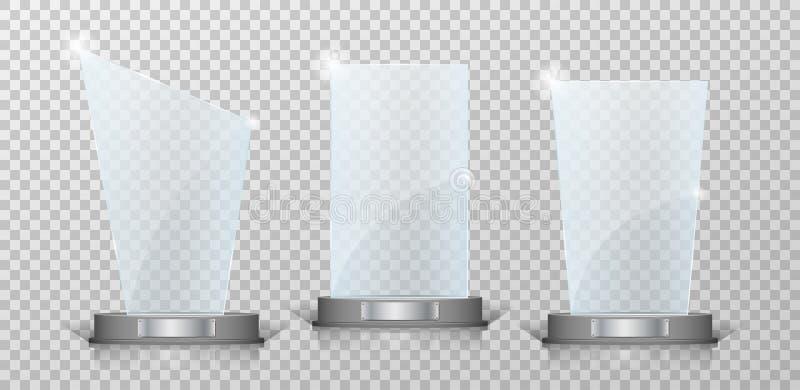 Récompenses vides de trophée de verre cristal réglées Trophée transparent brillant pour la récompense sur le fond transparent Vec illustration libre de droits