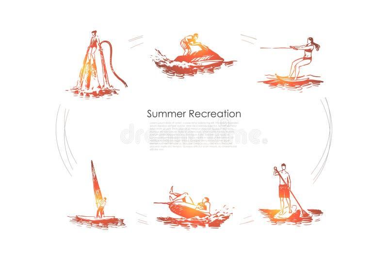 R?cr?ation d'?t? - flyboarding, ski d'eau, embarquement de palette, navigation, ensemble de concept de vecteur de ski de jet illustration stock