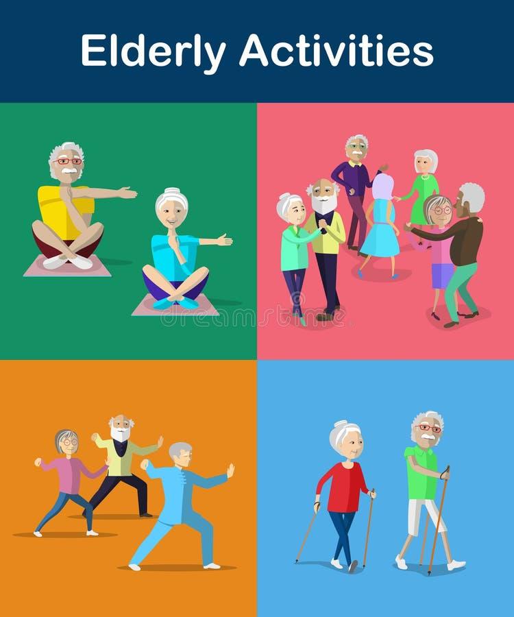 Récréation et activités pour l'aîné et les adultes de vieillissement Mode de vie pour l'aîné illustration libre de droits
