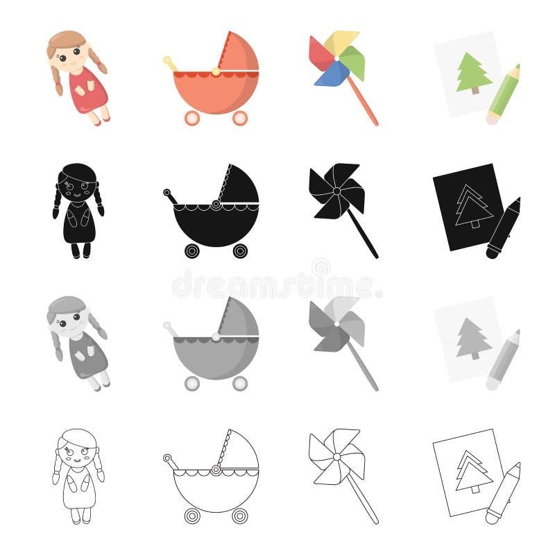 Récréation, soin, divertissement et toute autre icône de Web dans le style de bande dessinée Attributs, accessoires, équipements, illustration stock