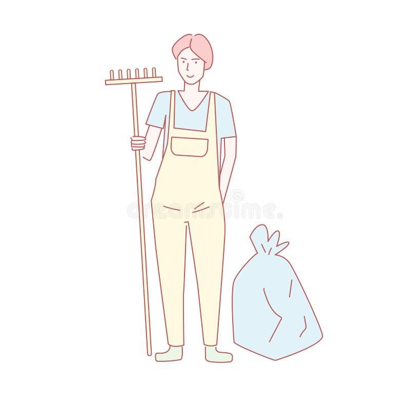 Récupération de place, écologie, vecteur de nettoyage environnemental cartoon Art d'isolement sur le fond blanc Volontaire plat illustration de vecteur