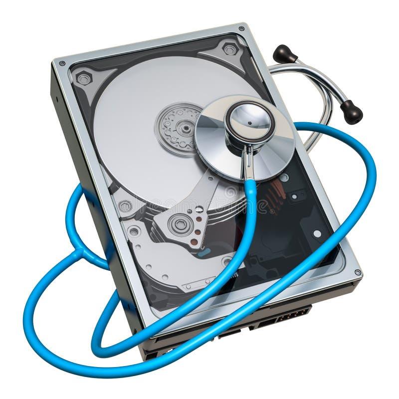Récupération et réparation de HDD Lecteur de disque dur avec le stéthoscope, rendu 3D illustration libre de droits