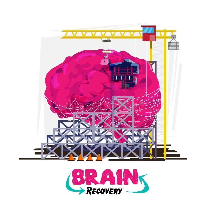 Récupération ou guérison de votre cerveau ou concept Esprit humain avec le bui illustration libre de droits