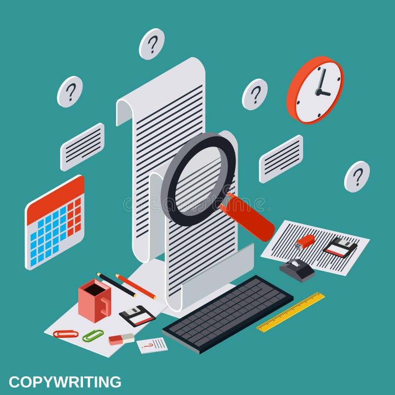 Rédaction publicitaire, éditant, journalisme, concept de vecteur de publication illustration de vecteur
