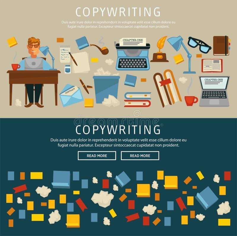 Rédaction publicitaire avec l'ensemble satisfait de site Web des textes d'écriture d'auteur illustration libre de droits