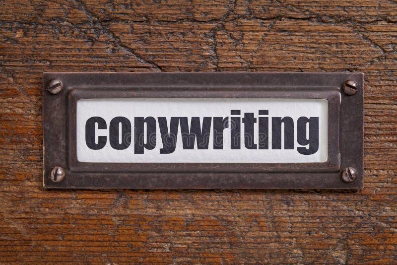 Rédaction publicitaire - label de classeur images libres de droits