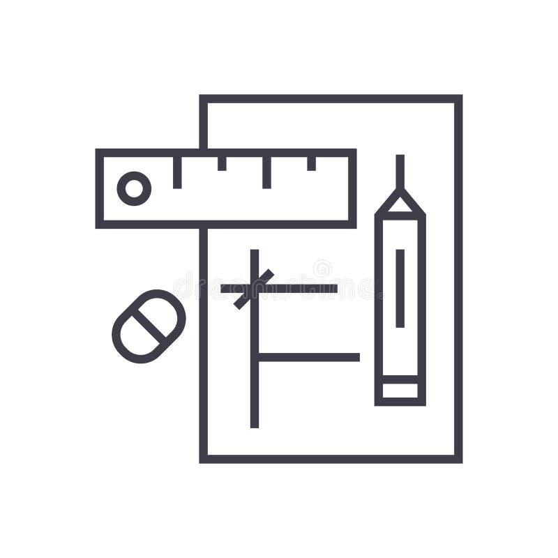 Rédigez l'icône linéaire de projet, signe, le symbole, vecteur sur le fond d'isolement illustration de vecteur