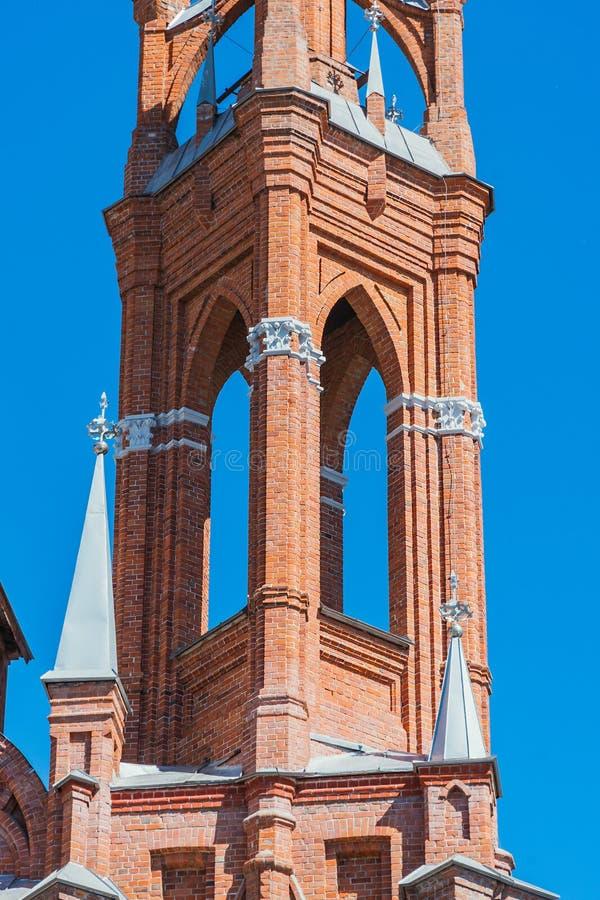 Réduit la paroisse en fragments du coeur sacré de Jésus de Roman Catholic Church dans la ville du Samara images stock