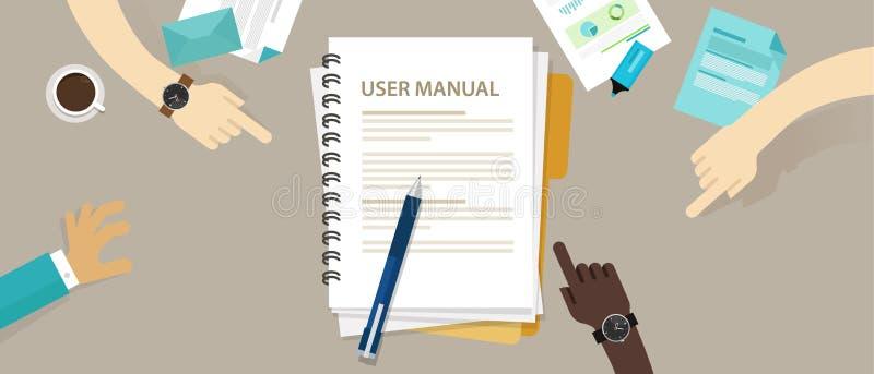 Référence manuelle de papier de document de livre d'instruction de guide de l'utilisateur illustration stock
