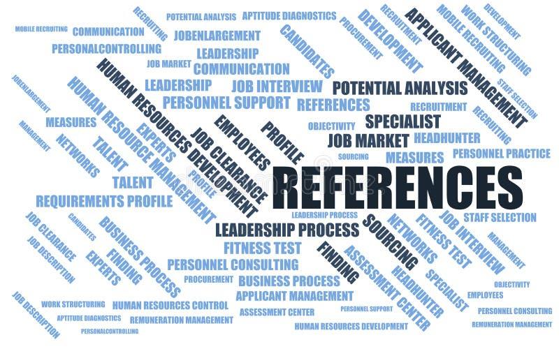 Références - nuage/wordcloud de mot avec des termes au sujet du recrutement illustration stock