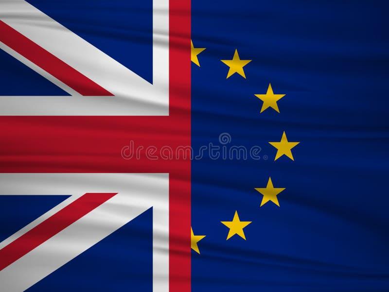 Référendum R-U de Brexit Congé britannique de vote Le drapeau du R-U et de l'UE vote pour le concept de sortie du Royaume-Uni illustration libre de droits