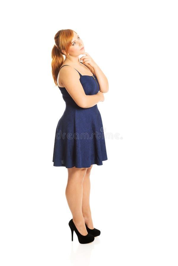 Réfléchi plus la femme de taille photos libres de droits