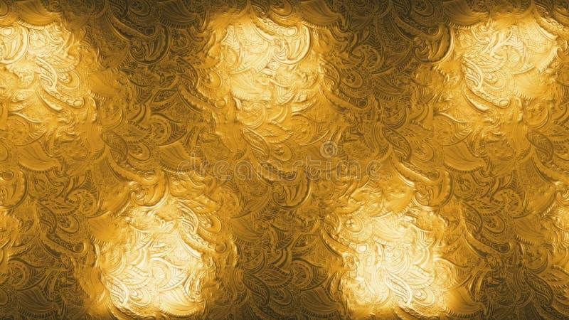 Réflecteurs royaux d'or abstraits scintillant et étincelant en boucle transparente arrière-plan à effet métallique images stock