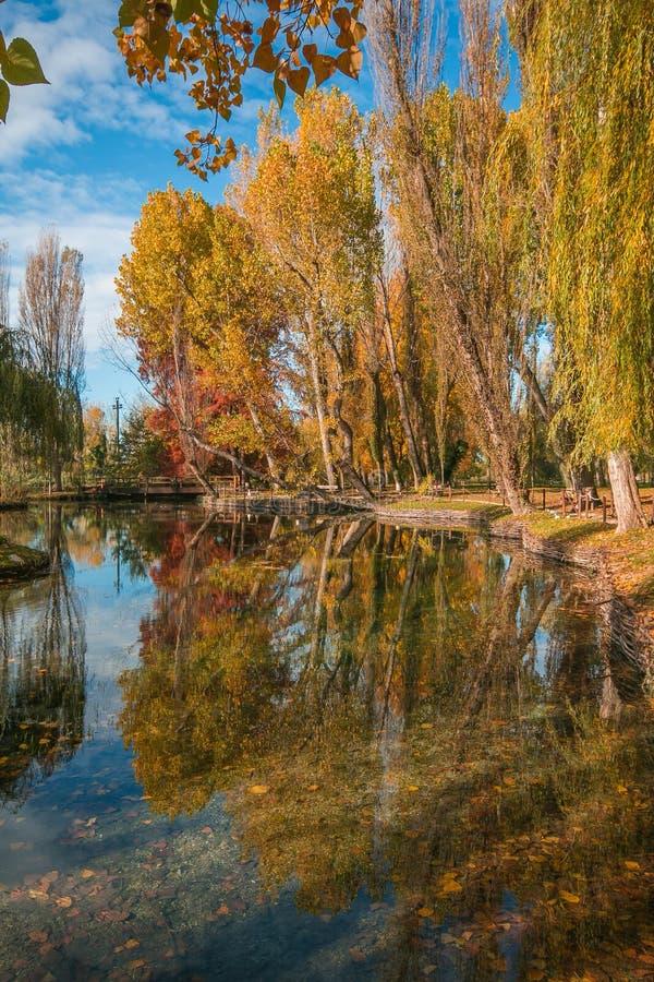 Réflexion automnale des arbres dans le petit lac, Ombrie image libre de droits