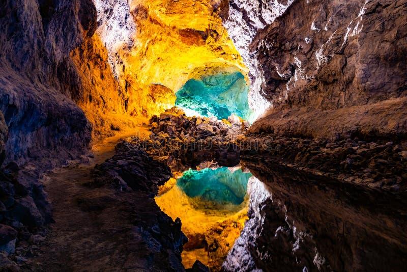 Réflexion d'illusion optique de l'eau en Cueva de los Verdes, un tube de lave étonnant et attraction touristique sur l'île de Lan photo stock