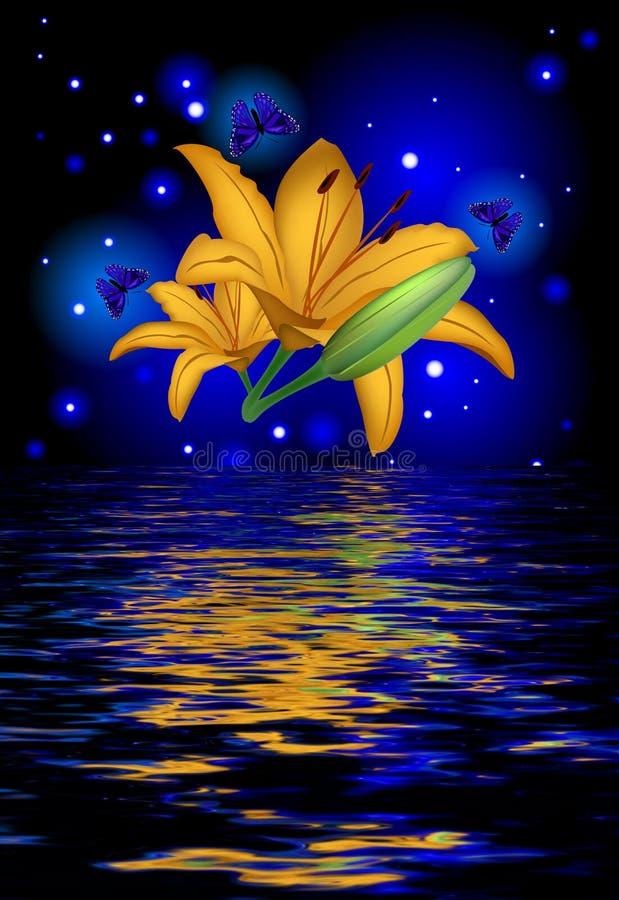 Réflexion d'une belle fleur de lotus avec des papillons illustration libre de droits