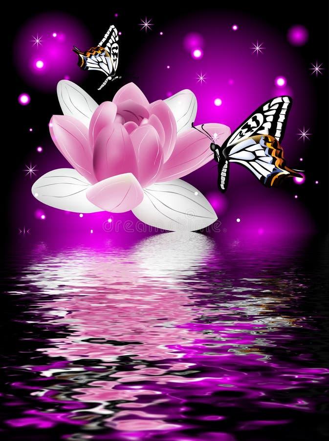 Réflexion d'une belle fleur de lotus avec des papillons illustration de vecteur
