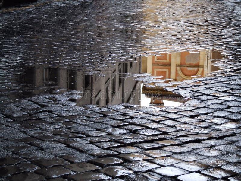 Réflexion dans les magmas après pluie photographie stock