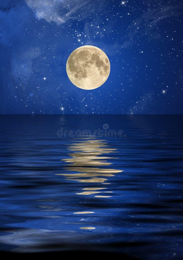 Réflexion de la lune et des étoiles illustration de vecteur