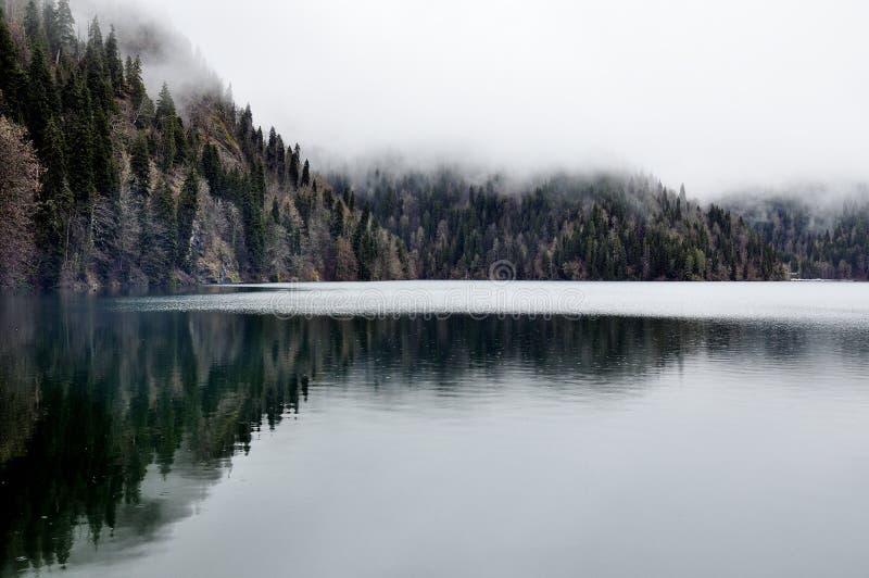 Réflexion de lac forest avec le brouillard dans Rica, parc national Abkhazie photographie stock