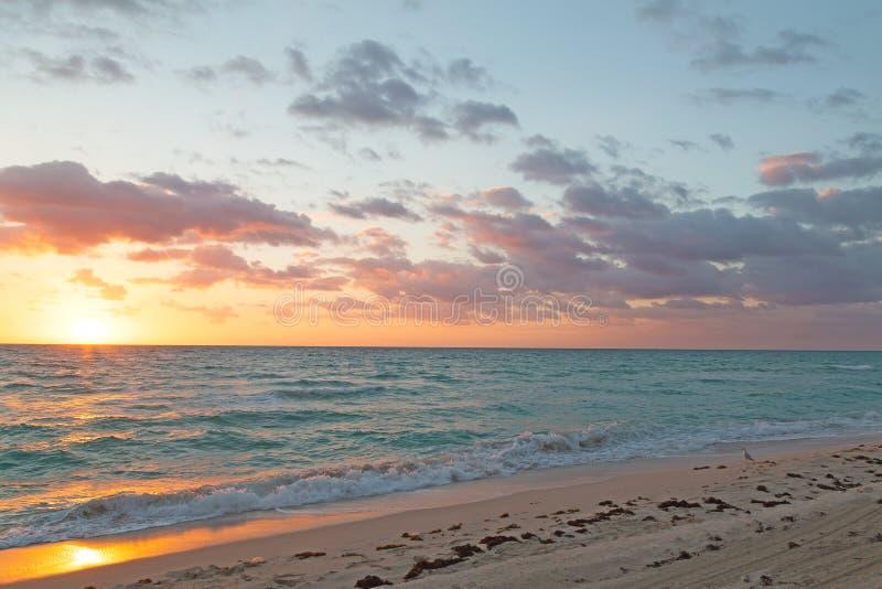 Réflexion de lever de soleil sur une plage sablonneuse photographie stock libre de droits