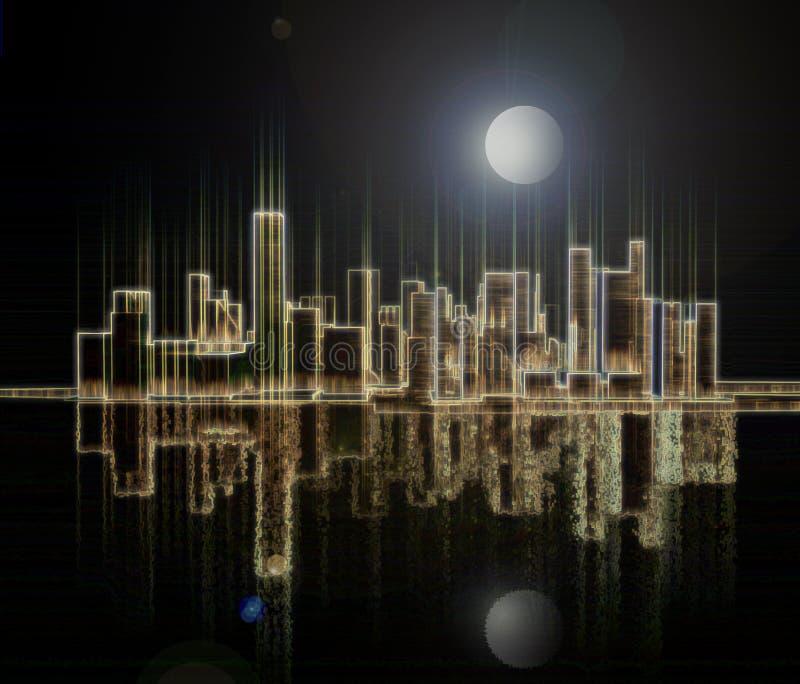 Réflexion de lumière d'une mégalopole de nuit sur une surface de l'eau illustration libre de droits