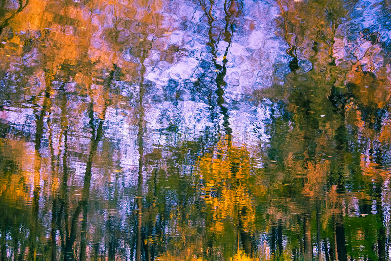Réflexion des arbres et du ciel dans l'eau photos libres de droits