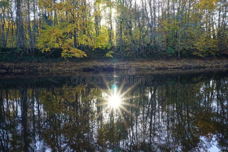 Réflexion du soleil dans l'eau photos stock