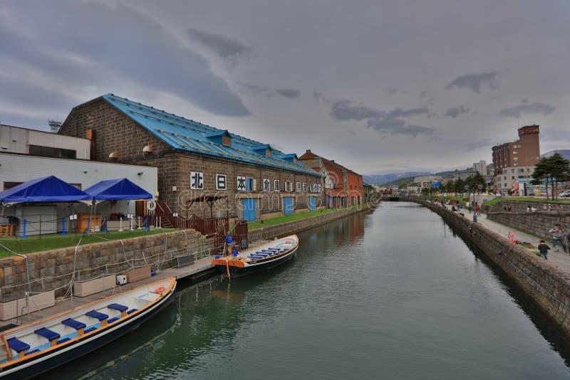 Réflexion du vieil entrepôt le long du canal d'Otaru, photographie stock