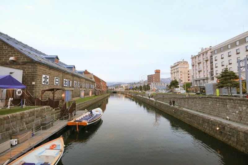 Réflexion du vieil entrepôt le long du canal d'Otaru, photographie stock libre de droits