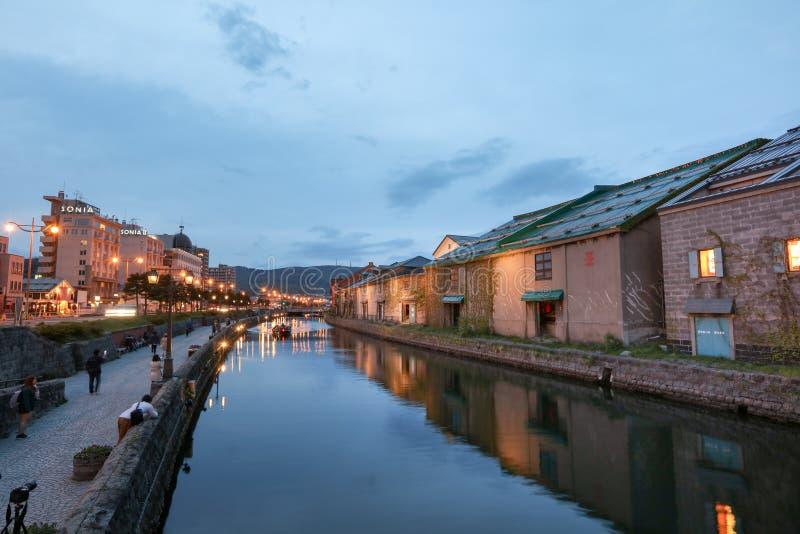 Réflexion du vieil entrepôt le long du canal d'Otaru, photo libre de droits