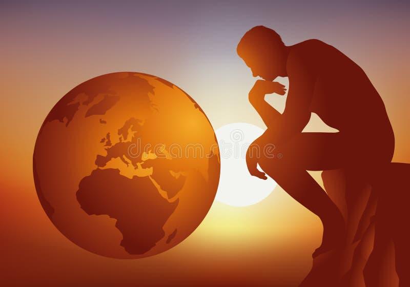 Réflexion l'avenir de la terre et de l'humanité illustration stock