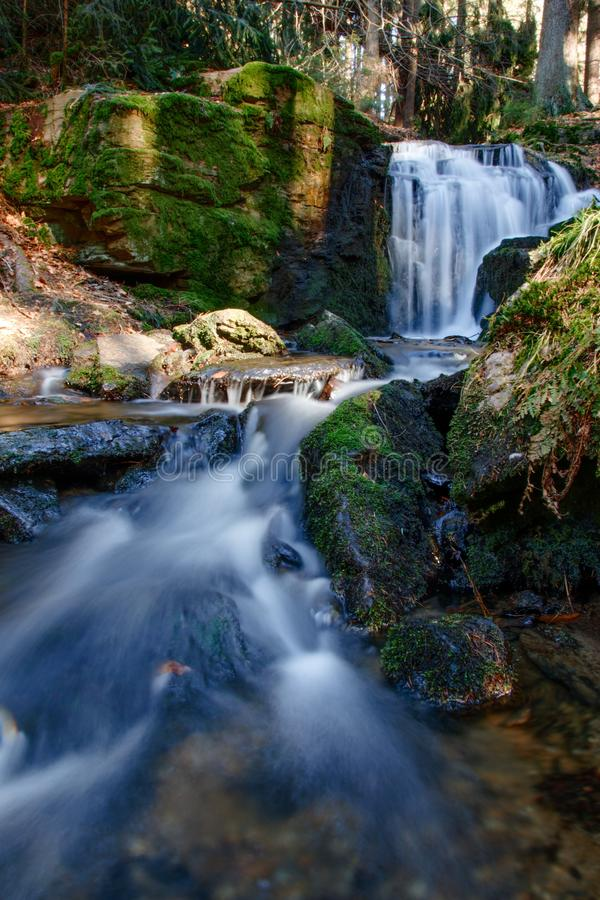 Réflexion, l'eau extérieure de voyage de nature de l'Allemagne de cascade de skogafoss photo libre de droits
