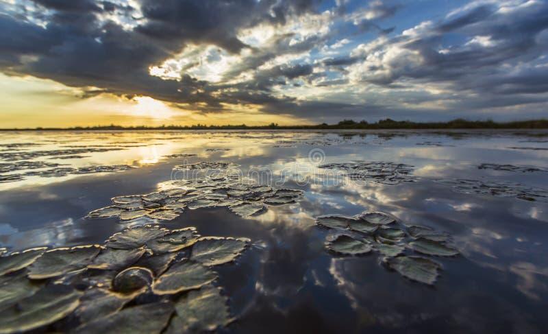 Réflexion orageuse sinistre de ciel au-dessus de lac naturel image stock