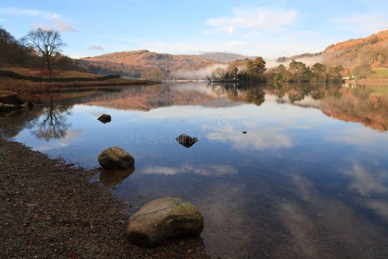 Réflexion rocheuse de campagne de district de lac photographie stock libre de droits