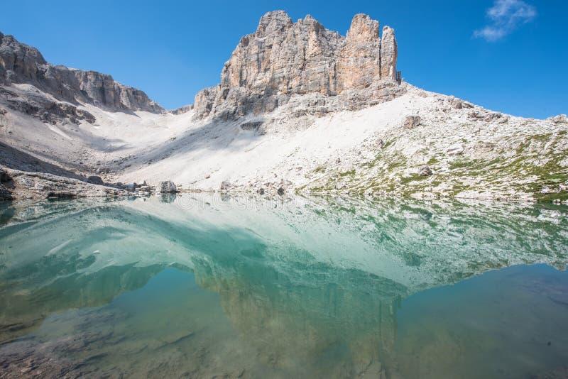Réflexion sur un lac bleu de montagne photos libres de droits