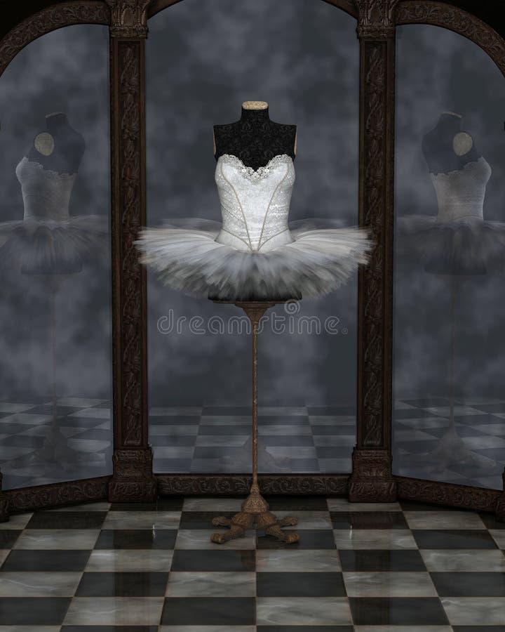 Réflexions blanches de tutu de ballet classique illustration de vecteur