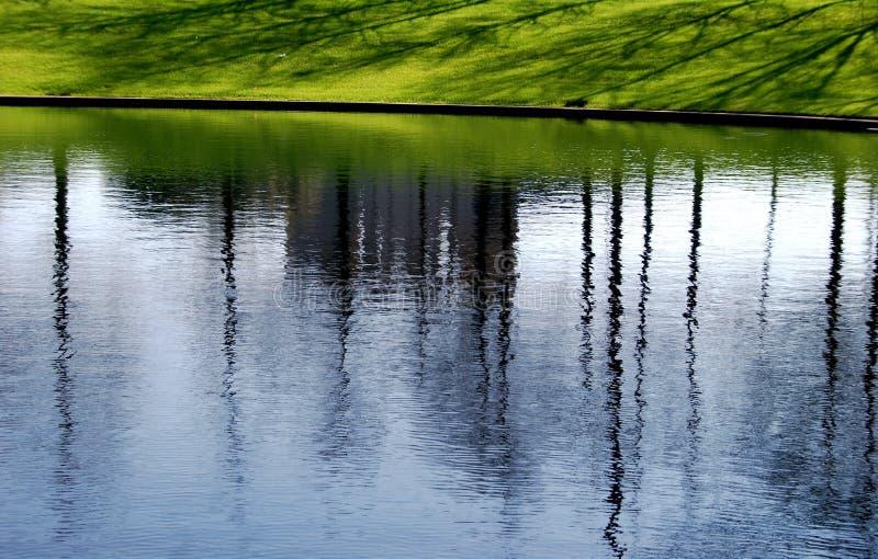 réflexions d'étang d'herbe photographie stock