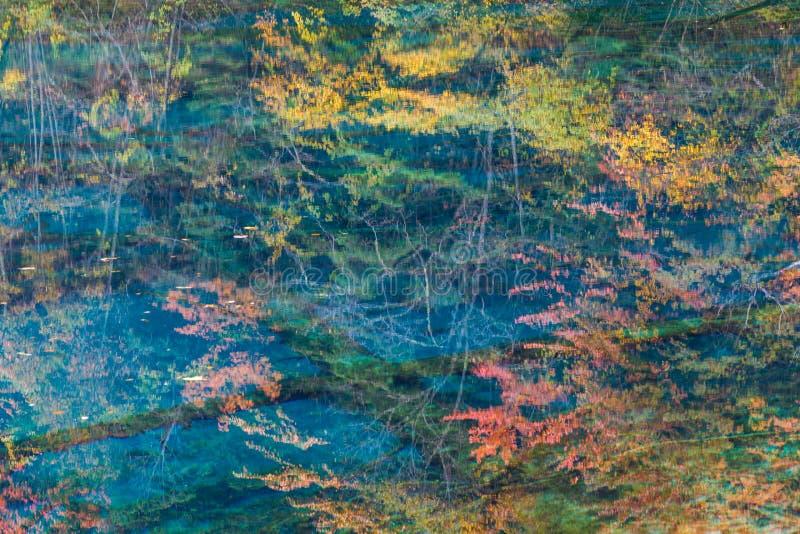 Réflexions d'automne et lac, parc national de Jiuzhaigou, province de Sichuan image libre de droits