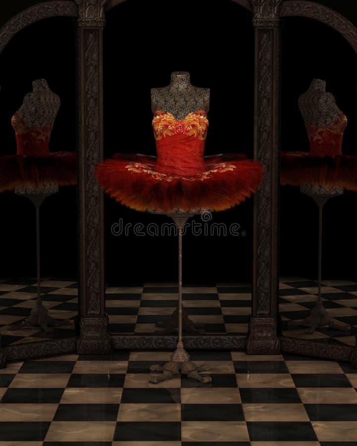 Réflexions rouges de tutu de ballet classique de Firebird illustration de vecteur
