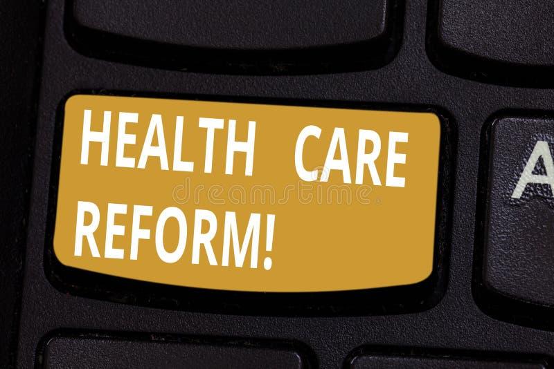 Réforme de soins de santé des textes d'écriture Rubrique générale de signification de concept utilisée pour discuter la clé de cl photo stock