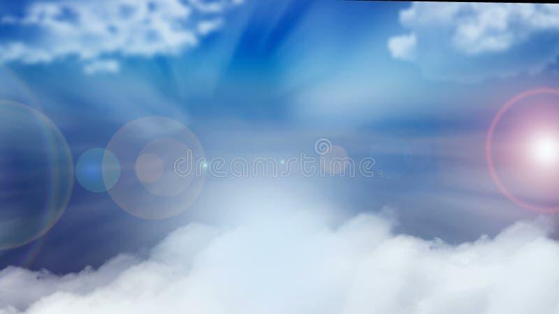 Réfraction de lumière - rayons, ciel bleu et points du soleil, fond abstrait moderne, illustration générée par ordinateur, 3d illustration libre de droits