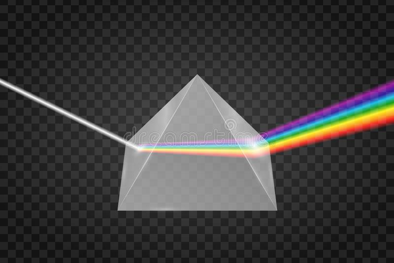 Réfraction en verre de pyramide de lumière illustration stock