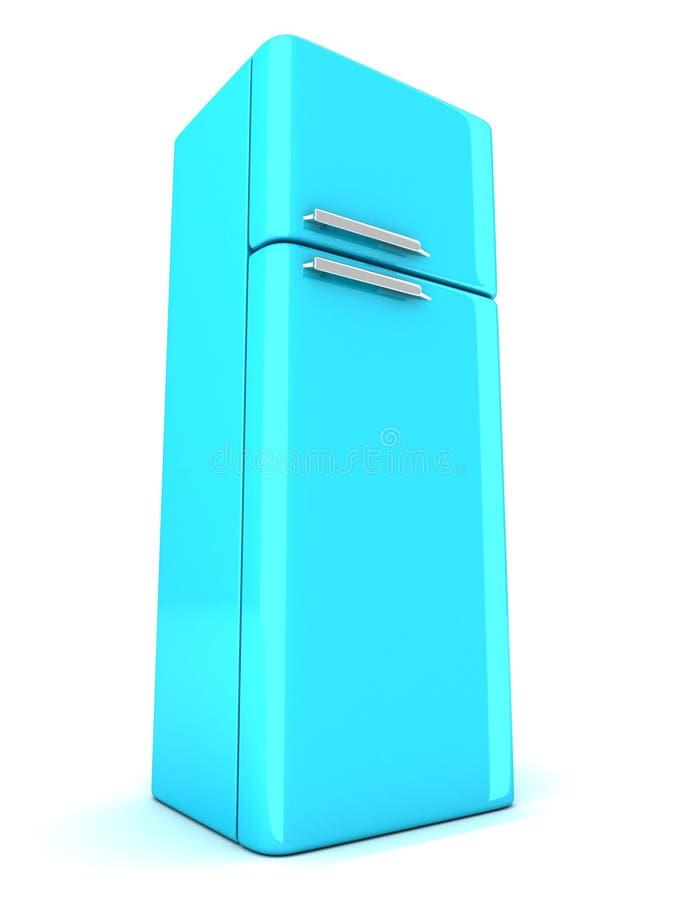Réfrigérateur bleu sur le fond blanc illustration de vecteur