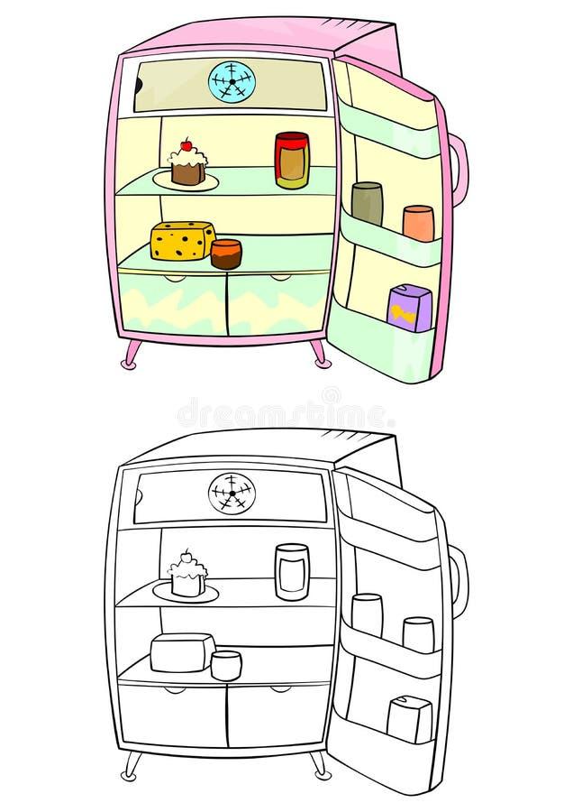 Réfrigérateur de bande dessinée illustration de vecteur